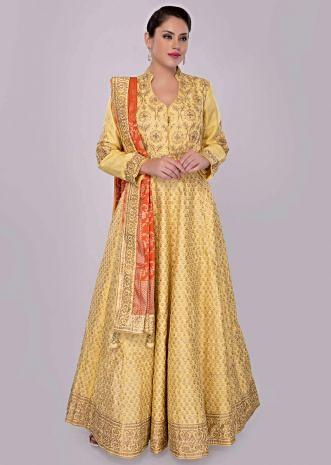 Pine yellow anarkali silk dress with foil printed butti