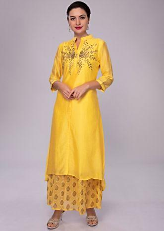 Pine yellow embroidered cotton tunic with georgette under layer in weaved butti