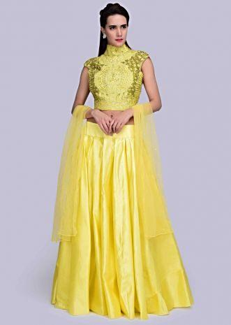 484e56fe60e Pine yellow lehenga with matching high neck crop top with in thread jaal  embroidery only on ...