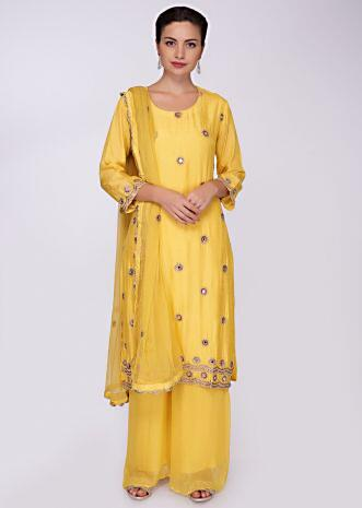 Pine yellow suit with matching palazzo and  dupatta