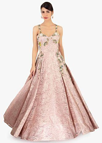 Pink  ball room lace  gown in paisley motif with sequins