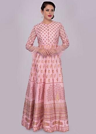 Pink anarkali silk dress in floral and peacock foil print
