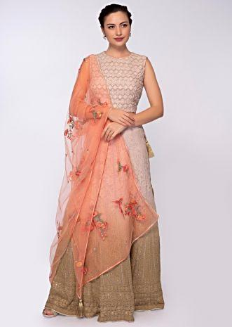 Pink and fawn green shade lehenga set in self thread embroidery only on Kalki