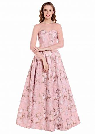 Pink and gold gown in fancy taffeta with matched belt only on Kalki