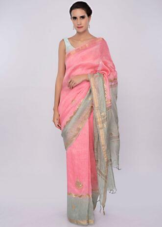 Pink and green shaded linen saree in gotta embroidery only on Kalki