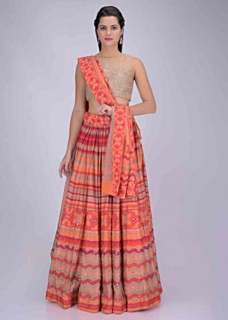 cb3cfd5716 Pink and orange multi cotton lehenga with patola print only on Kalki ...