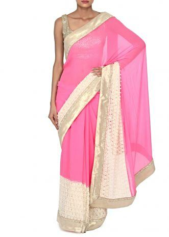 Pink and white saree enahnced in gold border only on Kalki
