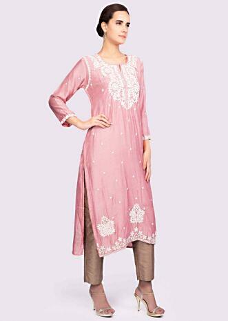 3d23db2a3 Pink cotton silk kurti adorn with thread embroidery and butti only on Kalki  ...