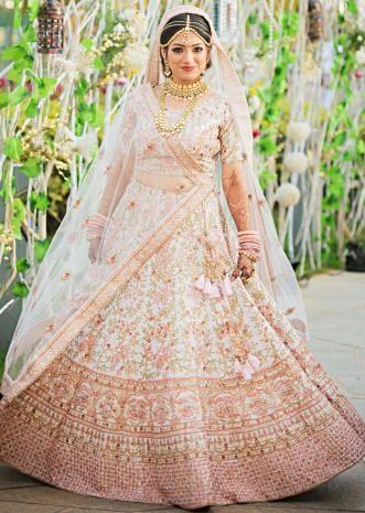 8349cada88bf Pink cream lehenga adorn in floral embroidered jaal only on Kalki ...