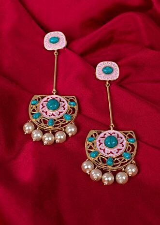 Pink dangler earring in meenakari work only on Kalki