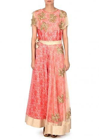Pink dress with attach cape in kardana embroidery only on Kalki