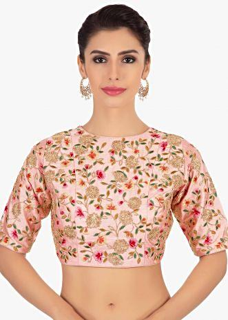 Pink floral embroidered raw silk blouse