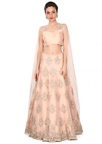 Pink lehenga enhanced in attached cape dupatta only on Kalki