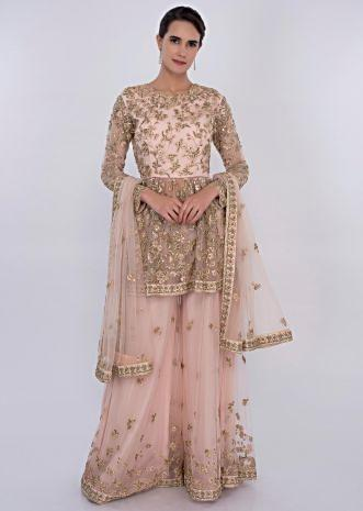 Pink net embroidered palazzo suit set  only on Kalki