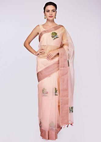 Pink organza saree in thread and french knot embroidered butti