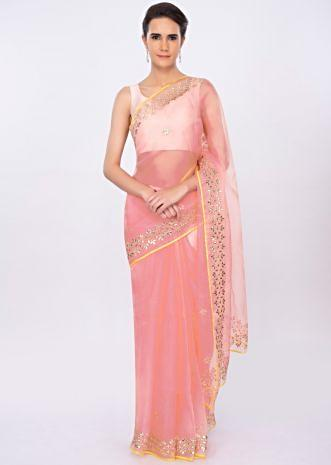 Pink organza saree with embroidery and butti only on kalki