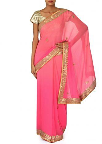 Champagne pink saree adorn in gotta patch embroidered border only on Kalki