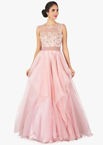 Pink satin and art organza net  gown with sheer yoke