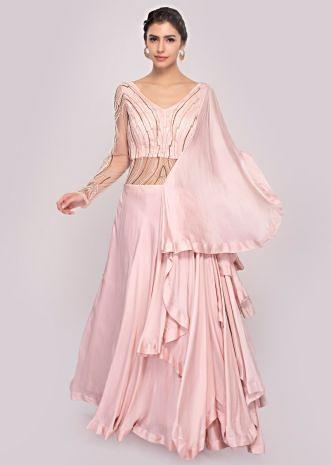 Pink satin net gown with layers and pre attached drape only on Kalki