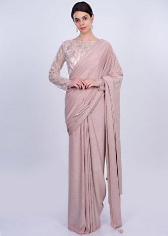 Pink shimmer lycra saree with matching embroidered blouse only on Kalki