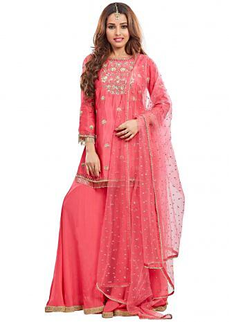 Pink silk gharara set embellished in sequin and moti