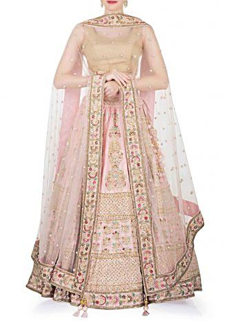 Pink Silk Lehenga and Blouse Ensemble Crafted with Sequins, Zari and Resham work only on Kalki