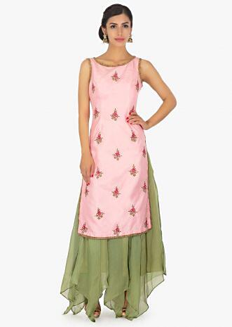 Pink straight suit with embroidered butti paired with olive green organza skirt