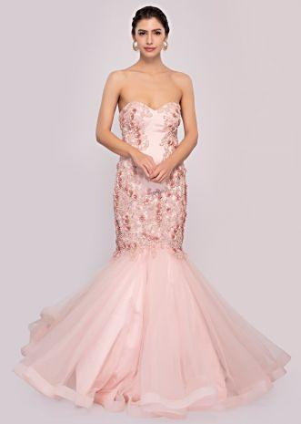 Pink strapless fish cut gown in net and satin