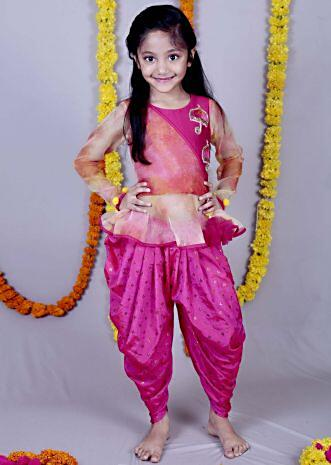 Pink Top with full sleeves and  Embroidered butti with pink Dhoti