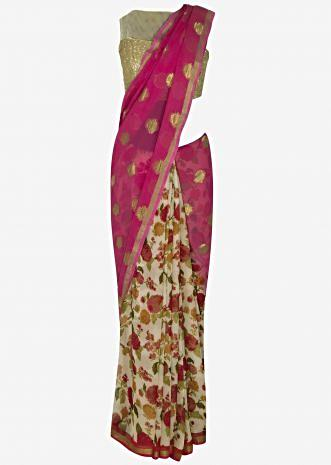 Pink and cream half and half saree with weaved butti and floral print only on Kalki