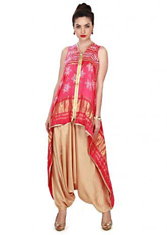 Pink bandhani kurti matched with beige aladdin pants only on Kalki