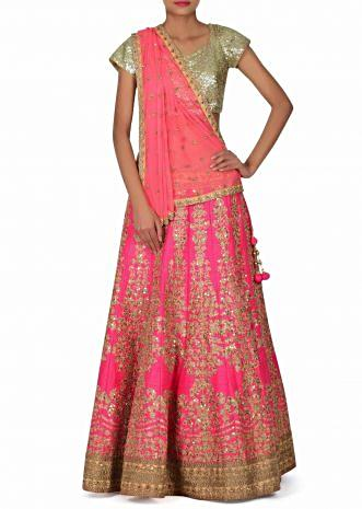 Pink lehenga adorn in zari and zardosi embroidery only on Kalki