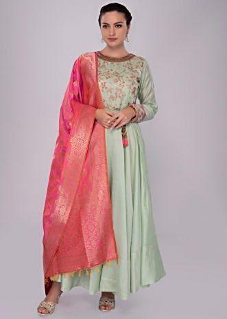 Pista green anarkali dress with coral pink weaved dupatta