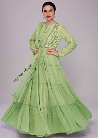 Pista green anarkali dress with embroidered jacket in gathers and front tie up