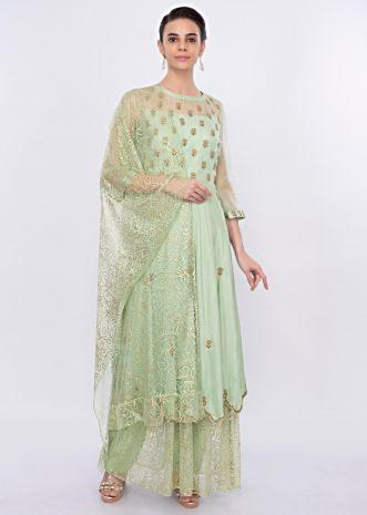 Pista green  anarkali dress with embroidery and butti only on Kalki