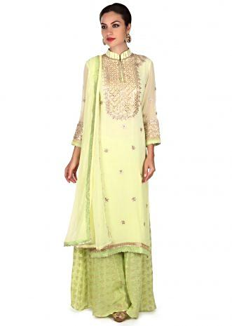 Pista green anarkali suit with jacquard palazzo pant only on Kalki