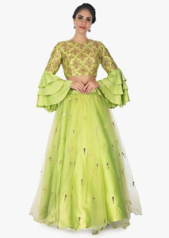 Pista green brocade crop  top in layered sleeves with satin net skirtonly