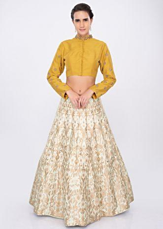 Pista green brocade lehenga with chrome yellow blouse only on kalki