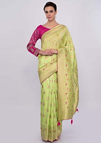Pista green chanderi silk saree with weaved butti  only on Kalki