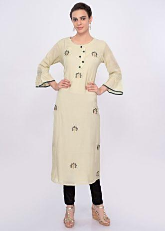 Pista green cotton silk kurti with embroidered butti only on Kalki