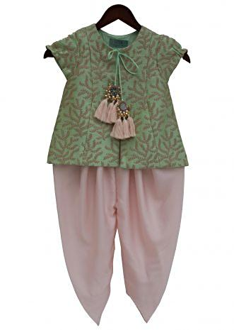 Pista Green Embroidery Jacket with Baby Pink Satin Silk Dhoti by Fayon Kids