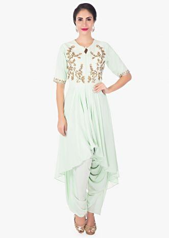 Pista green front short back long kurti with a matching dhoti pant only on Kalki