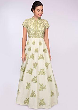 Pista green georgette anarkali gown embellished in floral embroidery