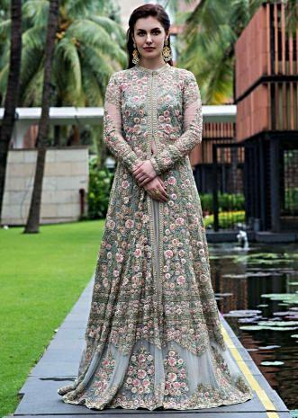 b0ae21198 Pista green jacket lehenga embellished in floral jaal embroidery with  zardosi and french knot ...
