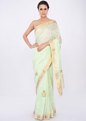 Pista green linen saree with  butti work only on kalki