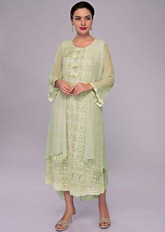 Pista green lucknowi embroidered georgette tunic dress with attached jacket
