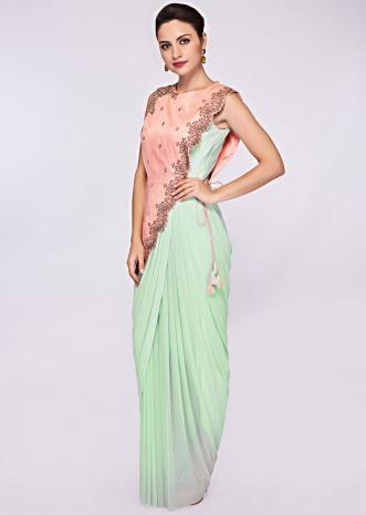 Pista green lycra net saree gown with a fancy salmon pink wrap around