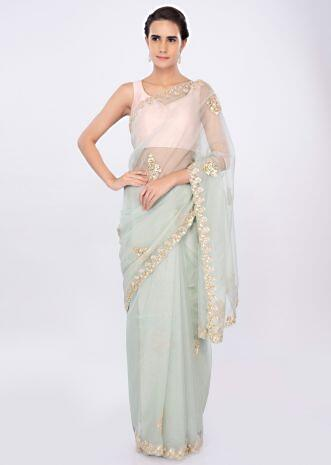 Pista green organza saree with gotta patch butti only on kalki