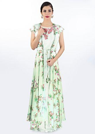 Pista green satin crepe dress in floral embroidery paired with long printed jacket