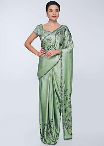 Pista green satin saree with bottom and pallo in bride and floral embroidery